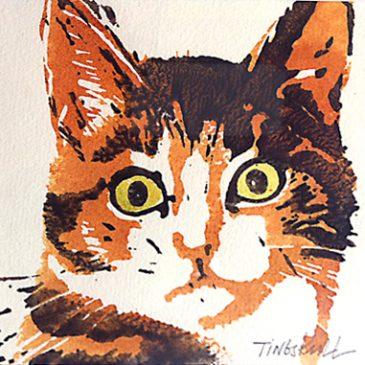 Katter – handtryck i akryl & akvarell