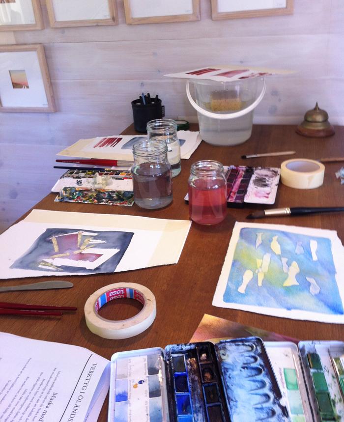 Anita Tingskulls ateljé - basläger för mina akvarellkurser