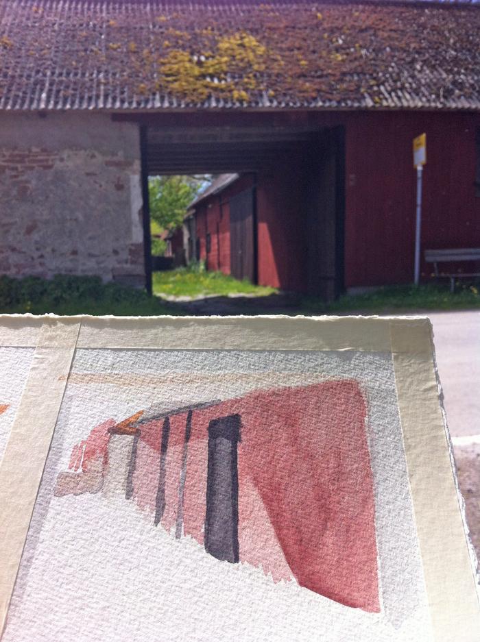 Akvarellmåleri vid Södviks bygata