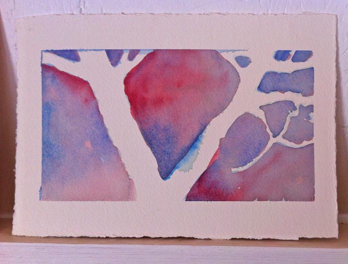 Mellanrumsmålning - äppleträd i akvarell. Akvarellkurs hos Anita Tingskull