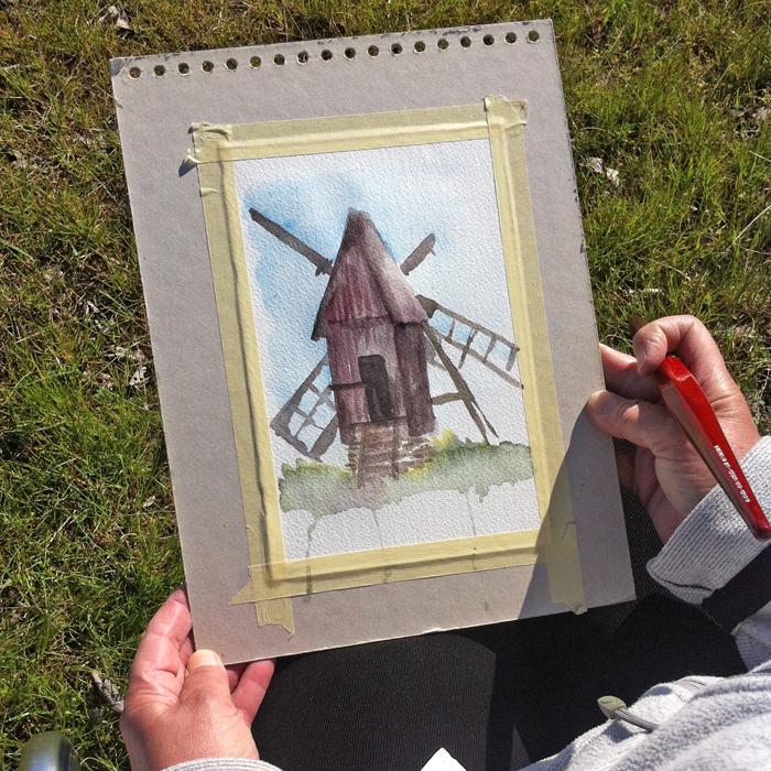 Väderkvarn i akvarell - första utkastet - ett försök till!