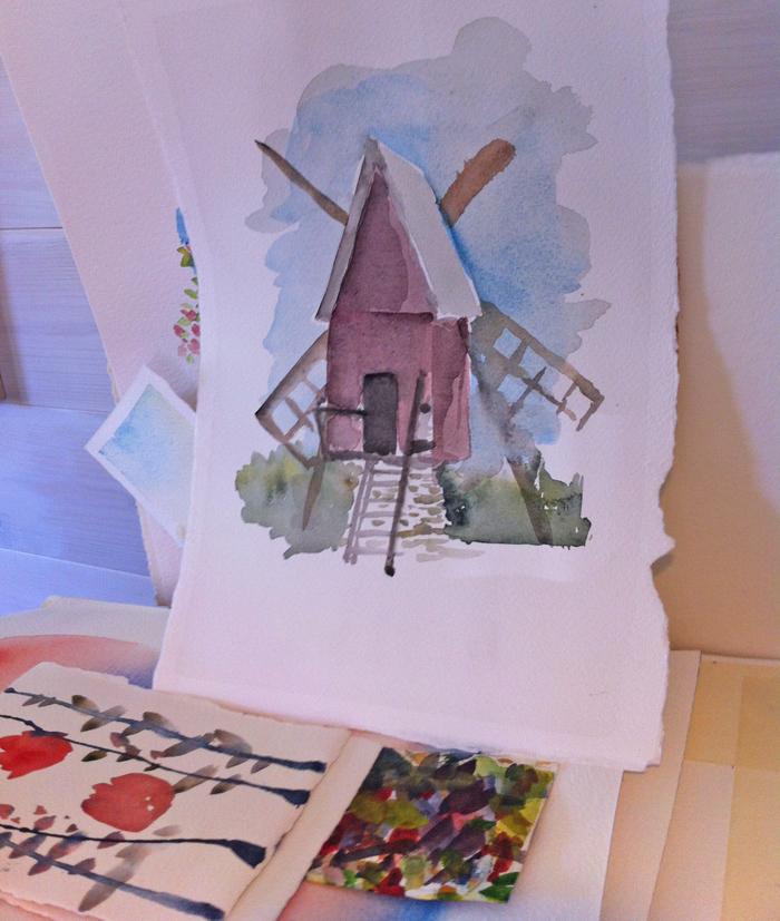 Väderkvarn i akvarell - mer renodlad och stiliserad