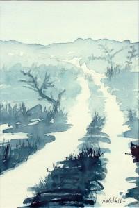 """""""Dimmigt landskap"""" - akvarell av Anita Tingskull"""