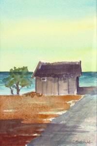 """""""Sjöboden"""" akvarell av Anita Tingskull"""