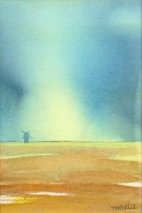 """""""Väderkvarn I"""" - akvarell av Anita Tingskull"""