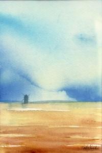 """""""Väderkvarn II"""" - akvarell av Anita Tingskull"""