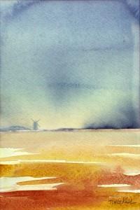 """""""Väderkvarn III"""" - akvarell av Anita Tingskull"""