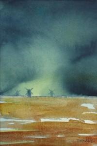 """""""Väderkvarnar"""" - akvarell av Anita Tingskull"""