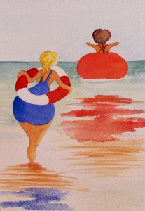 Baddamer - akvarell av Anita Tingskull