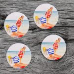 Coasters med Baddamer från ÖHAND / Design Anita Tingskull - fyra lika
